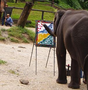 Captive elephants - An elephant painting.