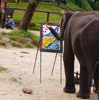 Captive elephants - An elephant painting.