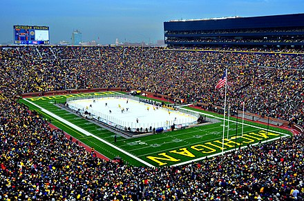 The Big Chill at the Big House was a collegiate ice hockey game played at Michigan Stadium in 2010. The game set the attendance record for ice hockey games TheBigChillattheBigHouse.JPG