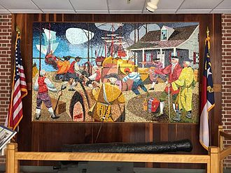 Brunswick Town, North Carolina - Mosaic depicting the Spanish attack