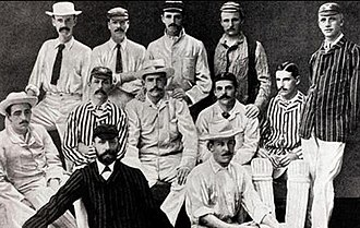 The Ashes urn - The English Cricket Team that toured Australia in 1882-83. They were captained by Ivo Bligh. Standing: William Barnes, Frederick Morley, Charles Thomas Studd, George Frederick Vernon, Charles Frederick Henry Leslie. Centre Row: George Browne Studd, Edward Ferdinando Sutton Tylecote, Ivo Bligh (captain), Allan Gibson Steel, Walter William Read. Front Row: Richard Gorton Barlow, Willie Bates.