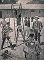 The Boer method of punishing natives; a Kaffir is tied by hi Wellcome V0041701.jpg