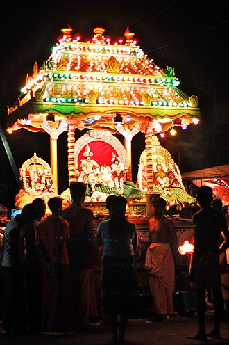 Munneswaram temple - A chariot carrying images of the deities in procession, as part of the temple festivals.