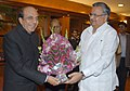 The Chief Minister of Chhattisgarh, Dr. Raman Singh meeting the Union Minister for Railways, Shri Dinesh Trivedi for pre-Budget discussion on Railway projects in the state, in New Delhi on February 16, 2012.jpg