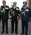 The Chief of Naval Staff, Admiral Sunil Lanba along with the Chief of Army Staff, General Dalbir Singh and the Chief of the Air Staff, Air Chief Marshal Arup Raha at the Amar Jawan Jyoti, India Gate.jpg