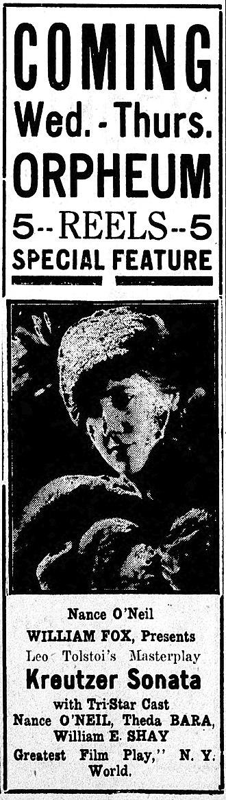 The Kreutzer Sonata (1915 film) - Newspaper advertisement.