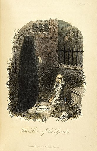 Future - The Ghost of Christmas Yet to Come shows Scrooge his future in Dickens' A Christmas Carol.