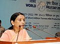 "The Minister of State for Agriculture and Farmers Welfare, Smt. Krishna Raj addressing the gathering at the ""World Milk Day"" celebration, in New Delhi on June 01, 2018.JPG"