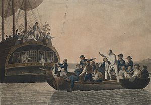 HMS Bounty - Mutineers turning Bligh and crew adrift, by Rober Dodd, 1790