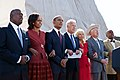 "The Obamas and the Bidens link arms and sing ""We Shall Overcome"", 2011.jpg"