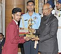 The President, Shri Ram Nath Kovind presenting the Arjuna Award, 2017 to Shri Varun Singh Bhati for Para-Athletics, in a glittering ceremony, at Rashtrapati Bhavan, in New Delhi on August 29, 2017.jpg