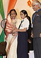 The President, Smt. Pratibha Devisingh Patil presented awards to the winner students during her visit to Abu Dhabi Indian School, in Abu Dhabi on November 23, 2010.jpg