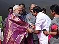 The Prime Minister, Shri Narendra Modi being welcomed by the Governor of Tamil Nadu, Shri Banwarilal Purohit and the Chief Minister of Tamil Nadu, Shri Edappadi K. Palaniswami, on his arrival, at Chennai, Tamil Nadu.jpg