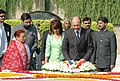 The Romanian President, Mr. Traian Basescu paying homage at the Samadhi of Mahatma Gandhi at Rajghat in Delhi on October 23, 2006.jpg
