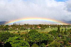 Kaanapali, Hawaii - Rainbow on the grounds of the Royal Lahaina Hotel