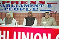 "The Speaker, Lok Sabha, Shri Somnath Chatterjee and Minister for Information & Broadcasting; Culture Shri S. Jaipal Reddy at the inauguration of the Delhi Union of Journalists Seminar on ""Parliament, Press & People"" in New Delhi.jpg"