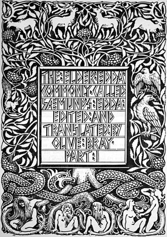 Poetic Edda - The title page of Olive Bray's English translation of Codex Regius entitled Poetic Edda depicting the tree Yggdrasil and a number of its inhabitants (1908) by W. G. Collingwood.