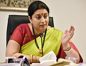 The Union Minister for Textiles and Information & Broadcasting, Smt. Smriti Irani interacting with the media regarding the cabinet approval for the Integrated Scheme for Development of Silk Industry, in New Delhi (1).jpg