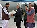 The Vice President, Shri M. Venkaiah Naidu being received by the Governor of Uttarakhand, Shri Krishan Kant Paul and the Chief Minister of Uttarakhand, Shri Trivender Singh Rawat, on his arrival, in Dehradun, Uttarakhand.jpg