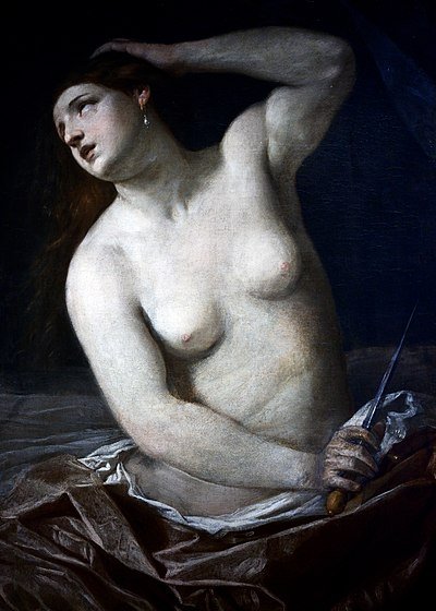 A painting of Lucretia, the ideal Roman woman from the Roman tale, The Death of Lucretia. The death of Lucretia - Guido Reni.jpg