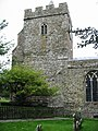 The tower of St Mary and St Ethelburga church, Lyminge - geograph.org.uk - 960677.jpg