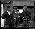 Three men on a sheerlegs crane probably salvaging the wreck of Sydney ferry GREYCLIFFE, November 1927 (8068935483).jpg