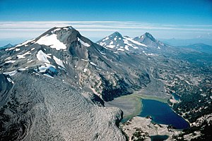 Aerial view, the Three Sisters volcanoes in Or...
