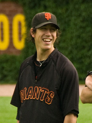 Washington Huskies baseball - Tim Lincecum, 2008 and 2009 National League Cy Young Award Winner, shown while pitching for the San Francisco Giants.