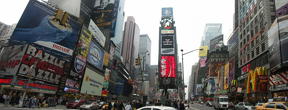 View of the northern part of Times Square before reconstruction, with Two Times Square in the center