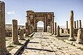 Timgad l'arc du triomphe et la route pavé.jpg