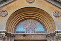 Timpà de la portalada de l'església, col·legi de sant Josep de València.JPG