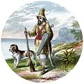 Title Page Detail - Robinson Crusoe with his dog and gun.JPG