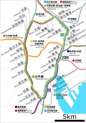 The JR Yamanote loop line, with major connecting JR lines.
