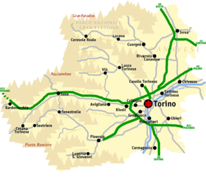 Province of Turin - Roadmap of the Metropolitan City of Turin.
