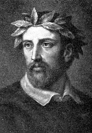 Poet laureate - A depiction of Torquato Tasso from a German encyclopedia, 1905. Note the laurel crown.