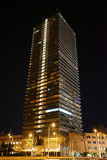 Torre Mapfre by night.JPG