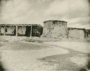 Manzano, New Mexico - Adobe homes with torreon (defensive tower), Manzano, circa 1900