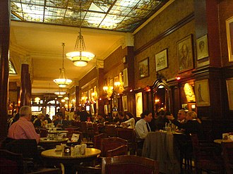 Argentine cuisine - Café Tortoni, one of the many coffehouses in Buenos Aires. The consumption of coffee is very common (141 cups per capita, annually).