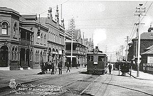 Trams in Australia - Tram in Scott Street, Newcastle near the turn of the 19th century