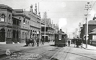 Trams in Australia - Tram in Scott Street, Newcastle near the turn of the 19th century