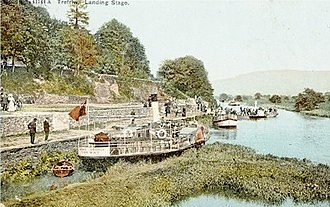 Trefriw - An old postcard (dated 1905) showing steamers at Trefriw Quay
