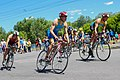 Triathletes on bicycles moving to the finish (35480135612).jpg