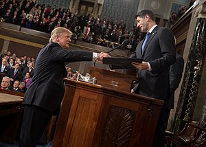 Paul Ryan - Ryan shaking hands with President Trump prior to his address to a joint session of Congress on February 28, 2017.