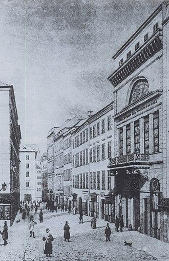 Gesellschaft der Musikfreunde - Musikverein building (1831-1870) on Tuchlauben street.