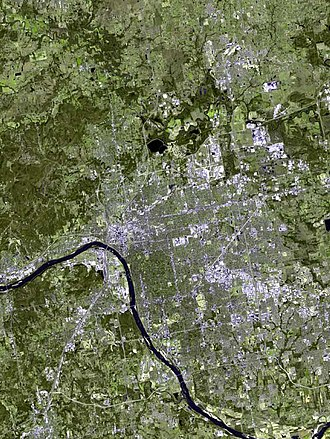 Tulsa, Oklahoma - As seen from space, most of Tulsa lies east of the Arkansas River.