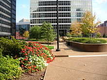 Two Chatham Center building and plaza view in Pittsburgh, PA.