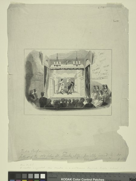 Two figures in Roman costume, on stage; eighteenth-century audience in foreground. Scribbling, including date 1791, on wall on each side. Interior of the old John St. Two figures in Roman costume, on stage; eighteenth century audience in foreground. Scribbling, including date 1791, on wall on each side. In pencil- India proof. Interior of the old John St. (NYPL Hades-1784729-1650651).tiff