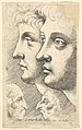 Two youths in profile to left with two grotesque heads facing each other below MET DP823707.jpg