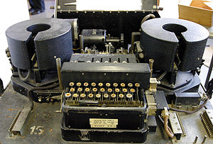 Combined Cipher Machine - Type Mark 23, pictured, was similar to the Mark 22, but modified for use with the Combined Cypher Machine (CCM).