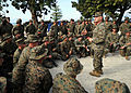 U.S. Marine Corps Lt. Gen. D.J. Hejlik talks with Marines March 10, 2010, in Carrefour, Haiti 100310-N-HX866-003.jpg